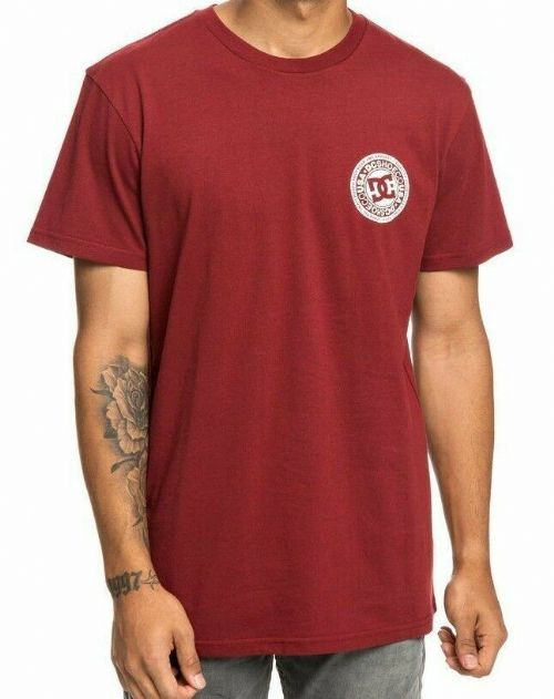 DC SHOES MENS T SHIRT.NEW CIRCLE STAR DARK RED BACKPRINT COTTON TOP 9S 03 RZG0